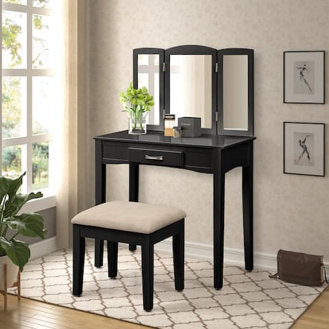Black Wooden Dressing Vanity Make Up Table and Stool Set