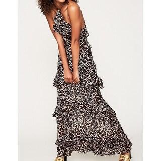 AFRM Womens Animal-Print Tiered Ruffle Maxi Dress