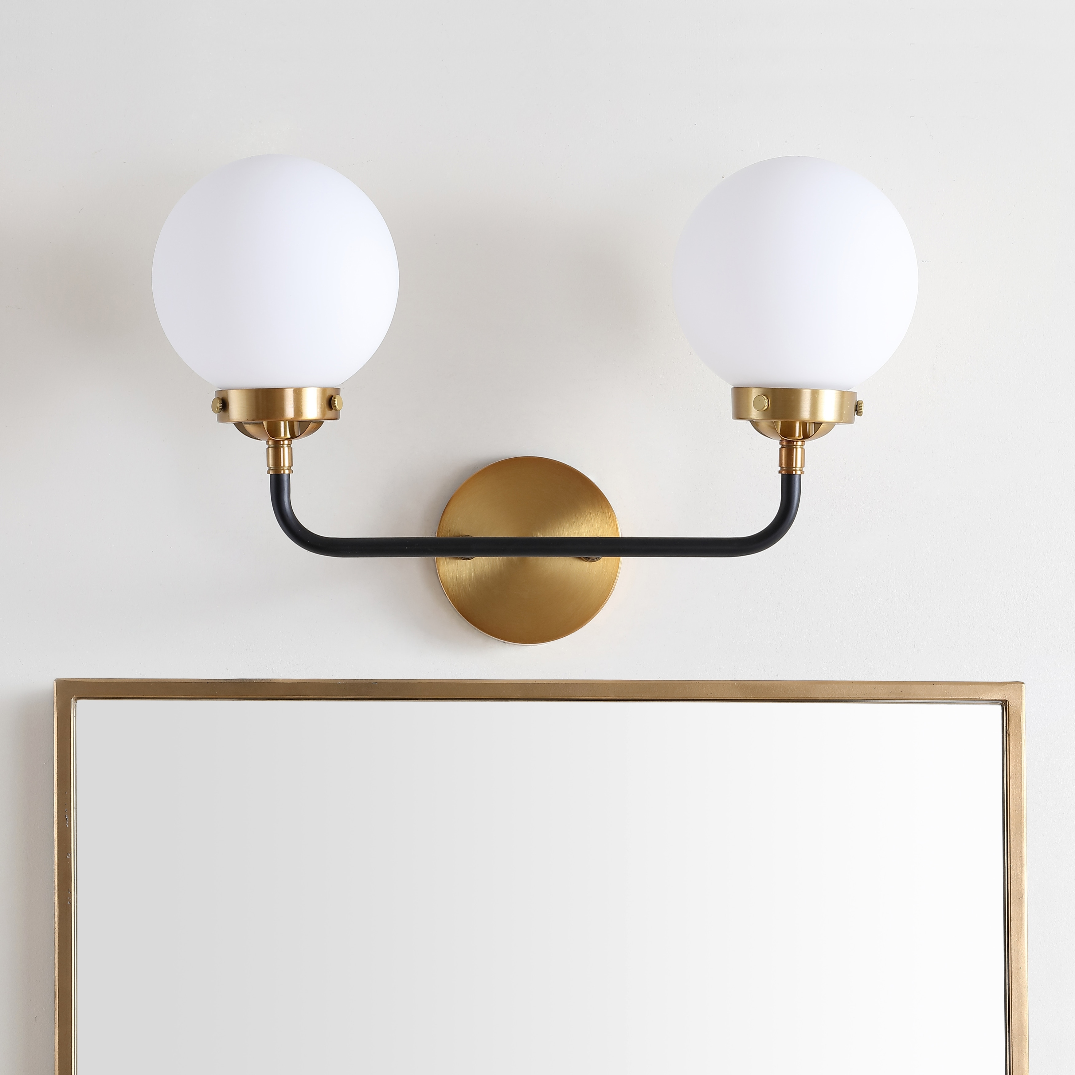 Image of: Shop Black Friday Deals On Caleb 2 Light 18 Brass Wall Sconce Brass Gold Black By Jonathan Y On Sale Overstock 25858990