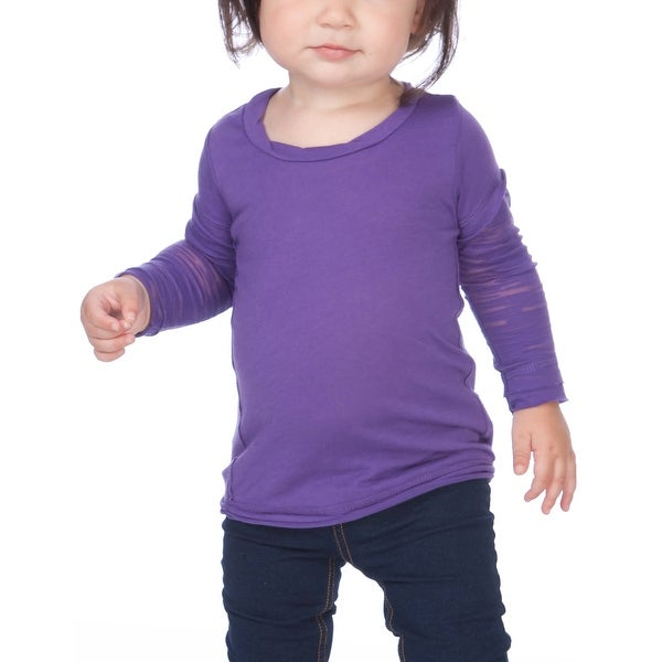 Infants Sheer Jersey Raw Edge Twisted Round Neck Two-Fer Burnout Long Sleeve