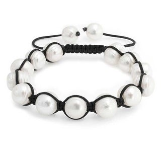 Bling Jewelry Baroque Freshwater Cultured Pearl Bracelet Shamballa Inspired 10mm