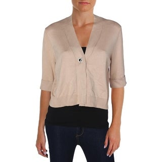Cable & Gauge Womens Cardigan Sweater V-Neck Elbow Sleeves