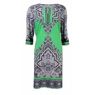 Sandra Darren Women's Printed Jersey Keyhole Dress - 10