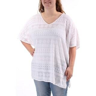 ALFANI $80 Womens New 1202 White Geometric Textured Dolman Sleeve Top L B+B
