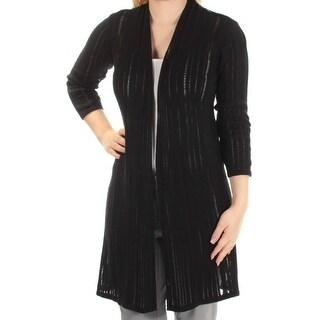 ALFANI $90 Womens New 1179 Black 3/4 Sleeve Open Cardigan Casual Sweater S B+B