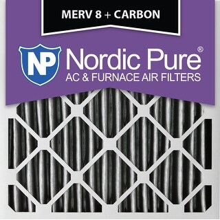 Nordic Pure 16x16x2 Pleated MERV 8 Plus Carbon AC Furnace Air Filters Qty 12