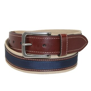Tommy Hilfiger Men's Canvas with Leather Inlay Casual Belt