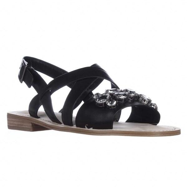 BCBGeneration Remmy Jeweled Flat Sandals, Black