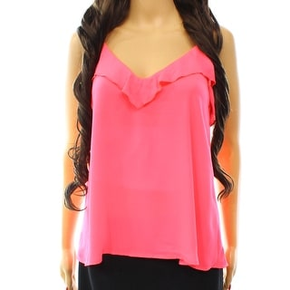 Lily White NEW Pink Women's Size Small S Ruffle V-Neck Cami Blouse