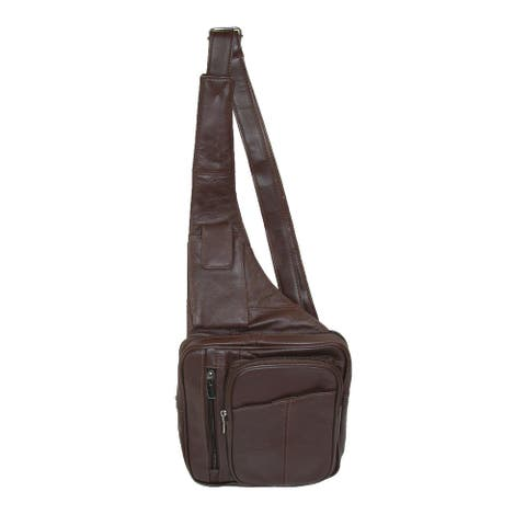 CTM® Leather Cross Body Messenger Bag - one size