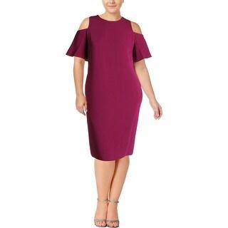 Lauren Ralph Lauren Womens Plus Deago Cocktail Dress Cold Shoulder Knee-Length