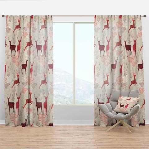 Designart 'Patterned Christmas Deers' Animals Curtain Panel