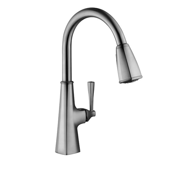 gooseneck kitchen faucet single handle design house 546986 perth pulldown spray gooseneck kitchen faucet satin nickel shop