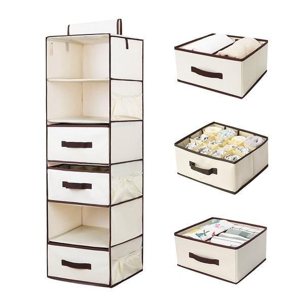 StorageWorks 6 Shelf Hanging Closet Organizer Foldable Hanging Shelves