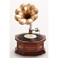 "8.75"" Downton Abbey Animated Musical Vintage Phonograph Table Top Decoration - Brown"