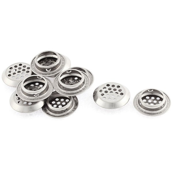 Cabinet Stainless Steel Flat Round Shaped Mesh Hole Air Vent Louver 25mm 10 Pcs