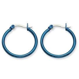 Chisel Stainless Steel Blue 26mm Hoop Earrings