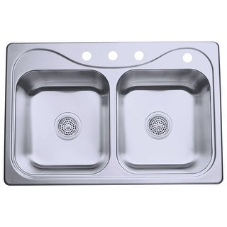 """Sterling 11400-4  Southhaven 33"""" Double Basin Drop In Stainless Steel Kitchen Sink with SilentShield® - Stainless Steel"""