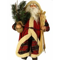 "24"" Woodland Santa Claus Christmas Figure with Skis, Pine Boughs and Plush Cloak"
