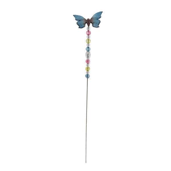 """21"""" Blue And Purple Beaded Acrylic Flying Butterfly Metal Garden Pick - N/A"""