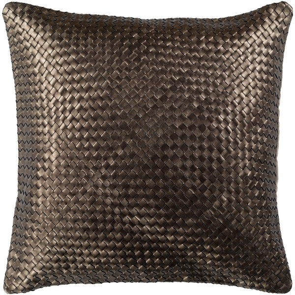 Cerdic Leather Dark Brown Feather Down or Poly Filled Throw Pillow 20-inch. Opens flyout.