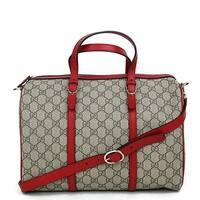 Gucci Beige Ebony GG Supreme Canvas Nice Medium Boston Bag