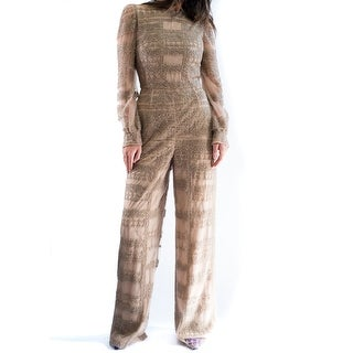 Valentino Women's Nude Netted Embellished Jumpsuit Size Euro 40/ U.S. 2-4