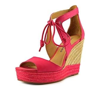 Lucky Brand Listalia Women Open Toe Leather Pink Wedge Heel