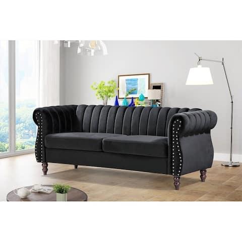 Capri 60-inch Velvet Rolled Arms Chesterfield Sofa