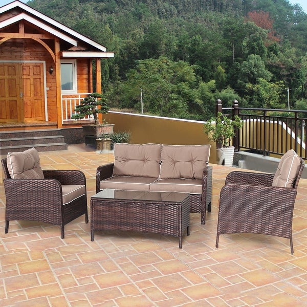 Costway 4 PCS Outdoor Patio Rattan Wicker Furniture Set ... on Outdoor Loveseat Sets id=46863