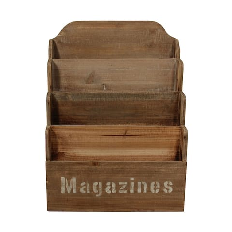"""19"""" Tawny Brown 4 Tiered Contemporary Magazine Holder"""