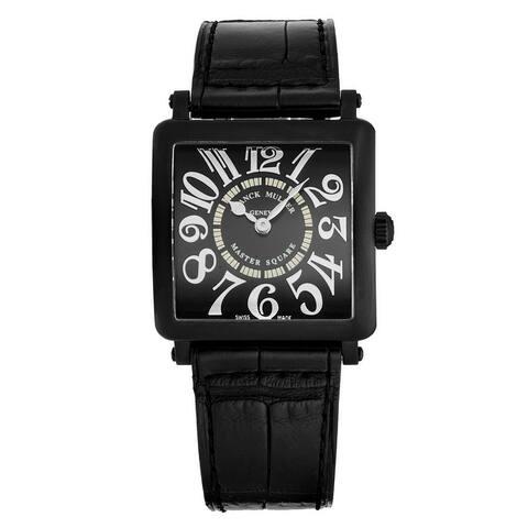 Franck Muller Women's 6002 L QZ RELIEF V NR AC 'Master Square' Black Dial Black Strap Swiss Quartz Watch