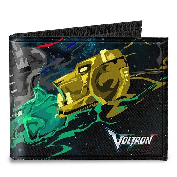 New Series Voltron 5 Lion Heads Galaxy Black Blues Multi Color Canvas Bi Canvas Bi-Fold Wallet One Size - One Size Fits most