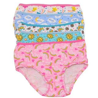 1000% Cute Little Girls Multi Color Rainbow Print 5 Pc Brief Underwear Pack