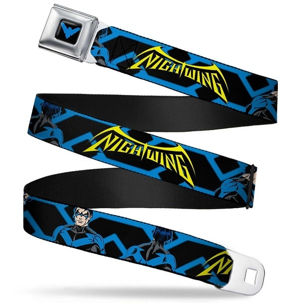 Nightwing Logo3 Full Color Black Blue Nightwing Standing Poses Blues Black Seatbelt Belt