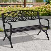 Costway 50'' Patio Garden Bench Park Yard Outdoor Furniture Steel Frame Porch Chair Seat