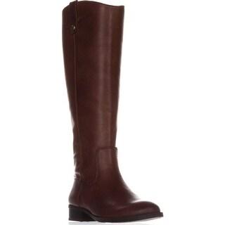 INC International Concepts I35 Fawne Flat Riding Boots, Cognac