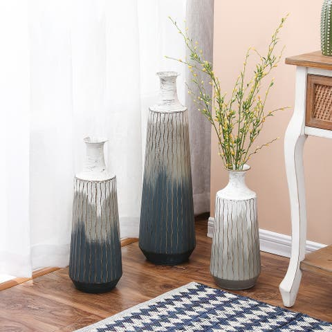 3-Piece Metal Multi-tone Vase Set