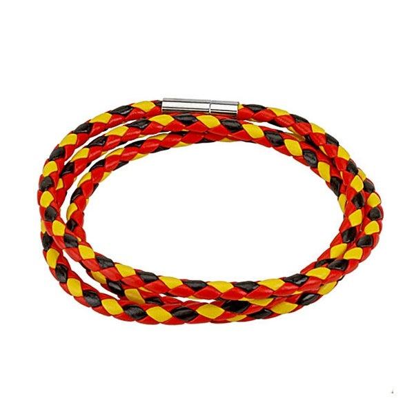 Black, Red, and Yellow Multi Weaved Triple Wrap Bracelet with Snap On Closure (12 mm) - 8 in