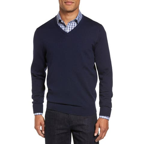 The Men's Store Bloomingdales Merino Wool V-Neck Sweater XX-Large 2XL Navy