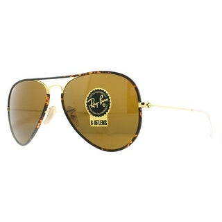 RAY-BAN Aviator 3025JM Unisex 001 Tortoise/Gold Brown Sunglasses - 58mm-14mm-140mm