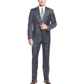Tommy Hilfiger Keene Navy Sharkskin Plaid Trim Fit Suit 42L Flat Front Pants 36W