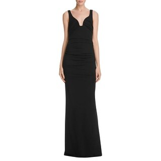 Nicole Miller Womens Evening Dress Pleated Low Neck