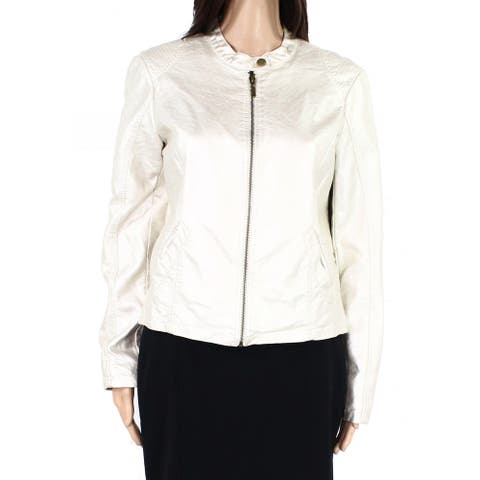 Skye's The Limit Womens Moto Jacket Champagne Gold Size 8 PU Leather Zip