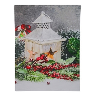 "LED Lighted Christmas Candle Lantern with Berries and Greenery Canvas Wall Art 15.75"" x 11.75"" - N/A"