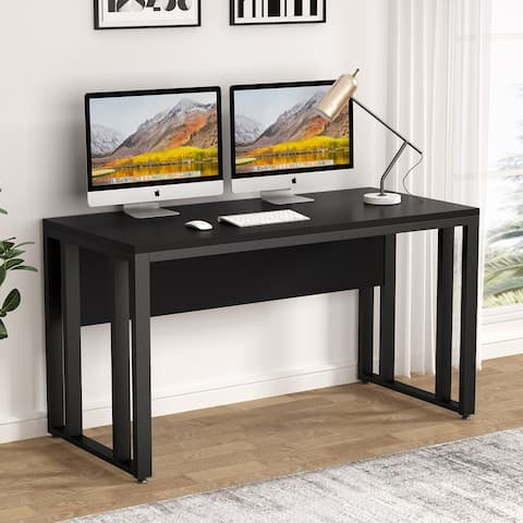 Large Computer Desk, 55inch Modern Office Desk Study Writing Table