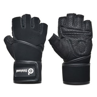 ODOLAND 1Pair Weight Lifting Gloves w/ Long Wrist Support for Gym Workout Fitness Size M Black