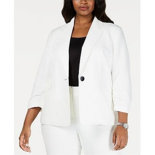 Kasper Women's Jacket White Size 22W Plus Single-Button Textured Solid
