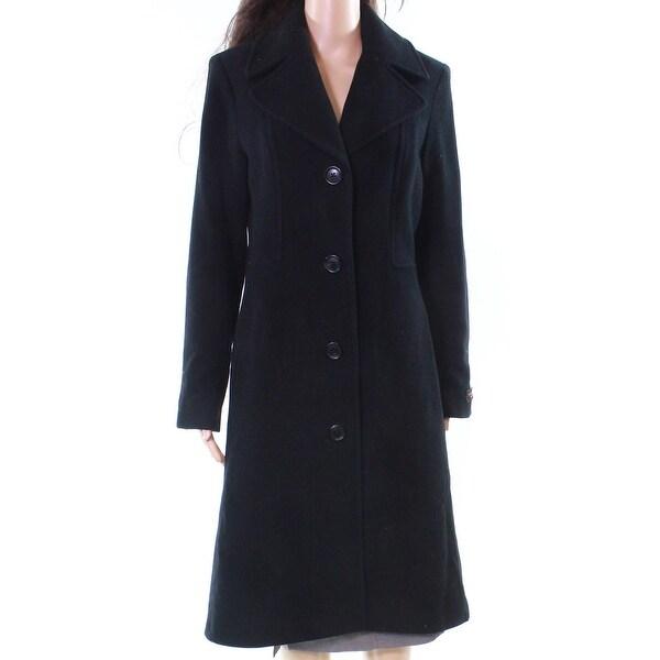 Anne Klein Black Women's Size 8 Notch Collar Trench Wool Over Coat