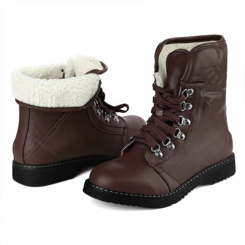 Women's Round Toe Plush Lace Up Duck Snow Booties